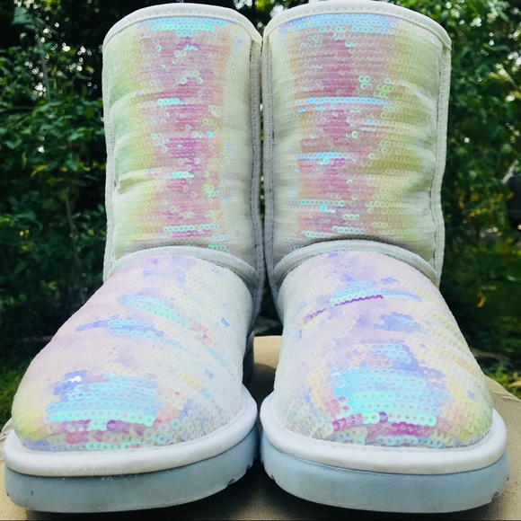 82ac33616ff *AUTHENTIC* White Iridescent Sequin UGG Boots